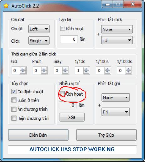 Chức năng click nhiều vị trí của Auto Click
