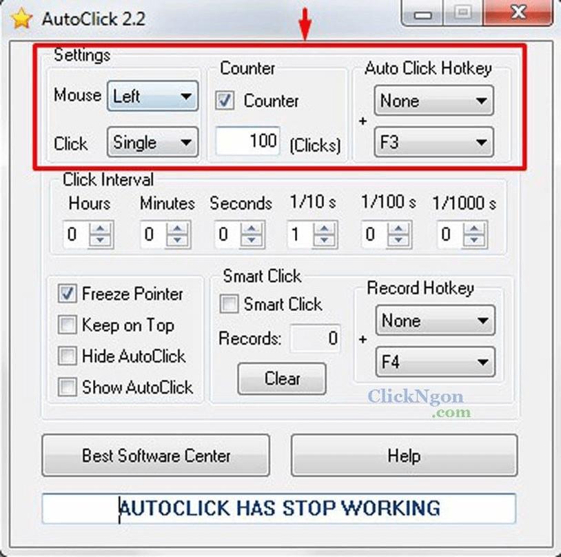 Phần mềm click chuột tự động Auto Click 2.2